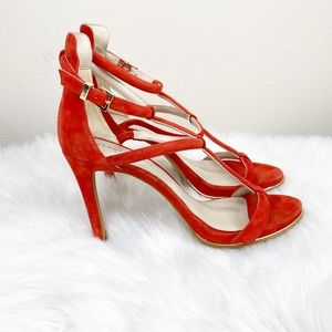Kenneth Cole Bertel Caged Red Leather High Heels